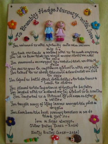 End Of Term 2 character Thank You Personalised Nursery, School Classroom  or Playgroup Sign Plaque Sentimental Poem Gift (1)